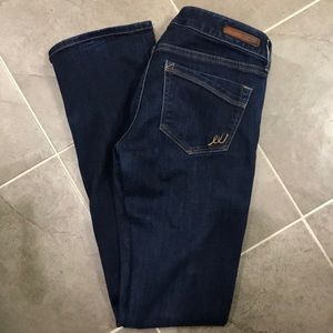 Express Low Rise, Boot Cut, dark wash Jeans